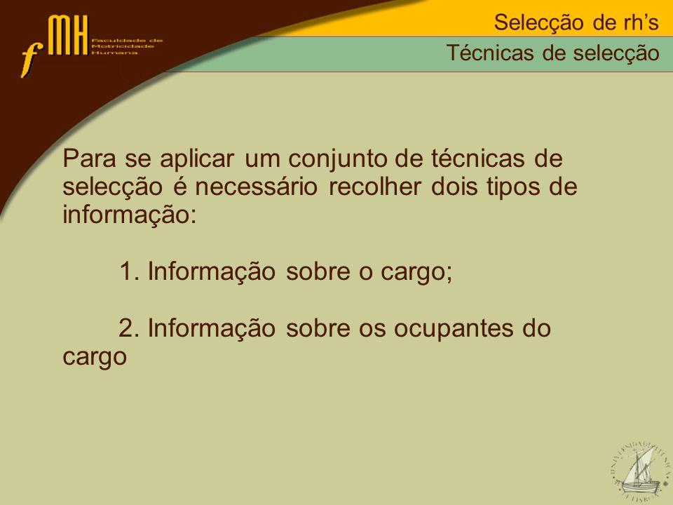 1. Informação sobre o cargo; 2. Informação sobre os ocupantes do cargo