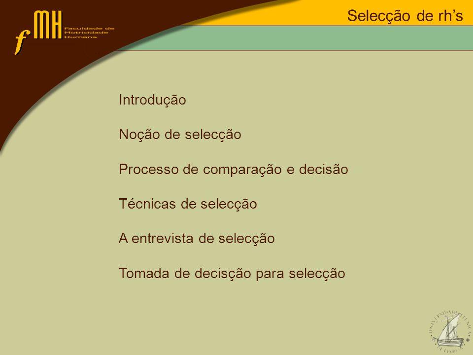 Selecção de rh's Introdução Noção de selecção