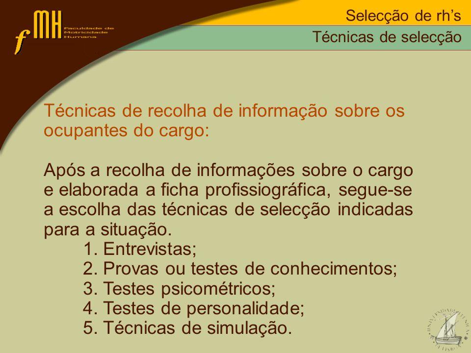 Técnicas de recolha de informação sobre os ocupantes do cargo: