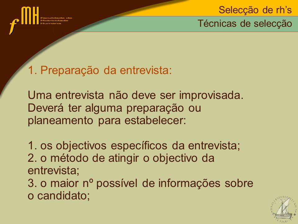 1. Preparação da entrevista: Uma entrevista não deve ser improvisada.