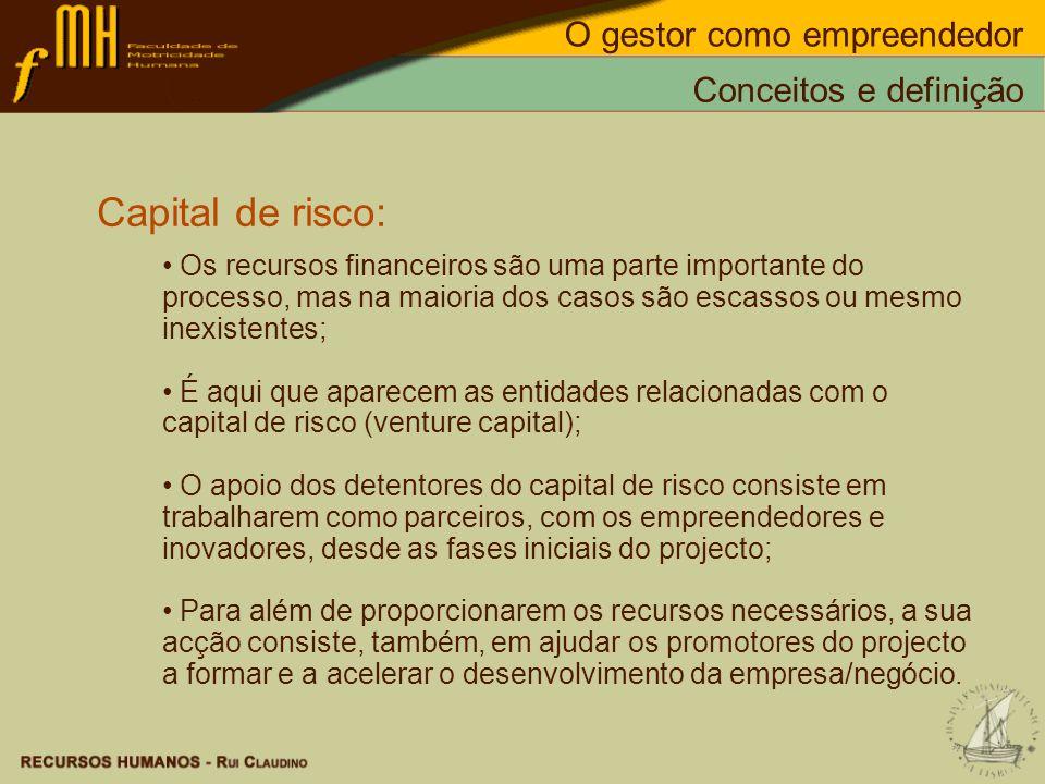 Capital de risco: O gestor como empreendedor Conceitos e definição