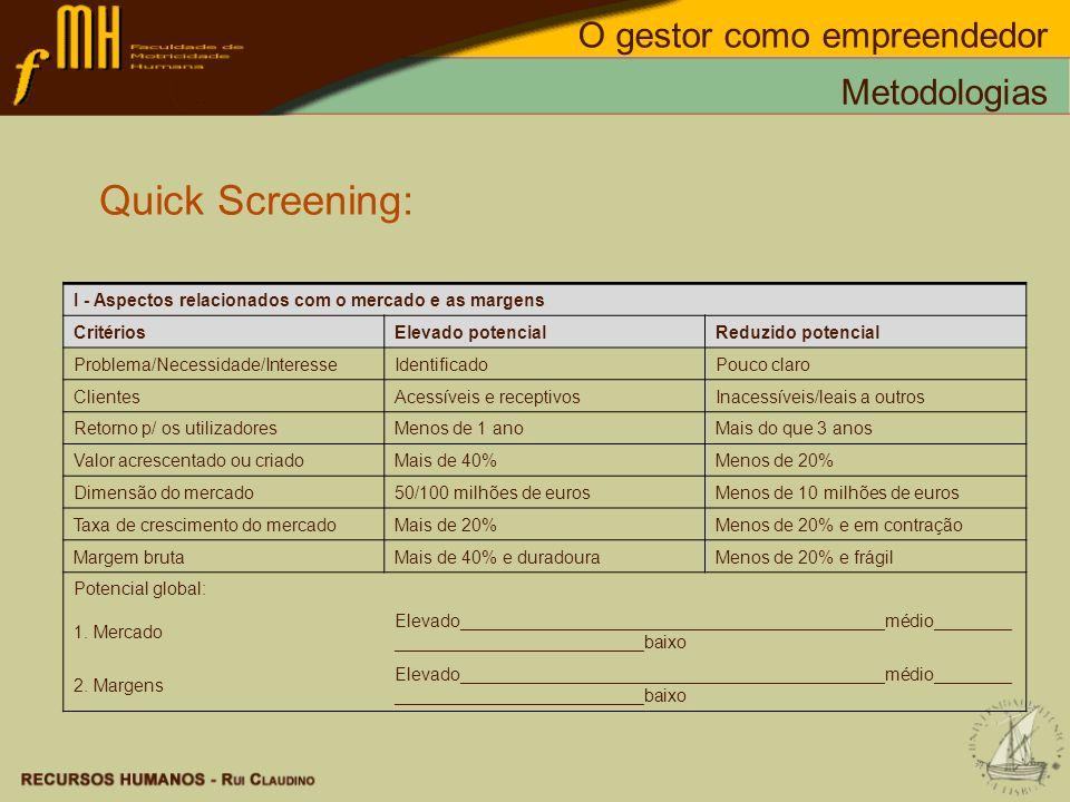 Quick Screening: O gestor como empreendedor Metodologias