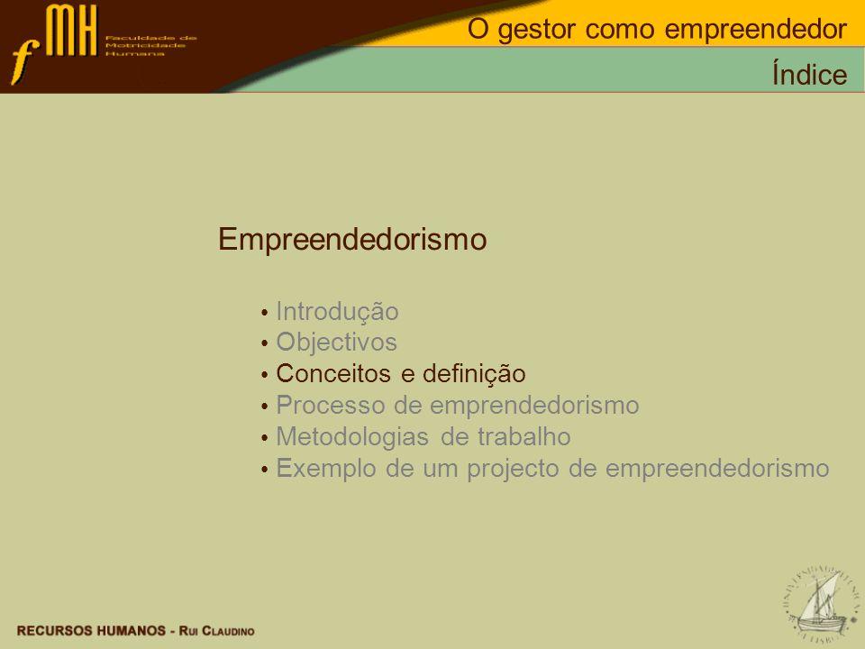 Empreendedorismo O gestor como empreendedor Índice Introdução