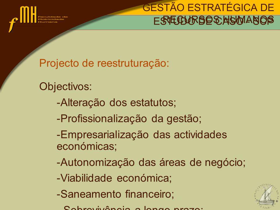 Projecto de reestruturação: Objectivos: Alteração dos estatutos;