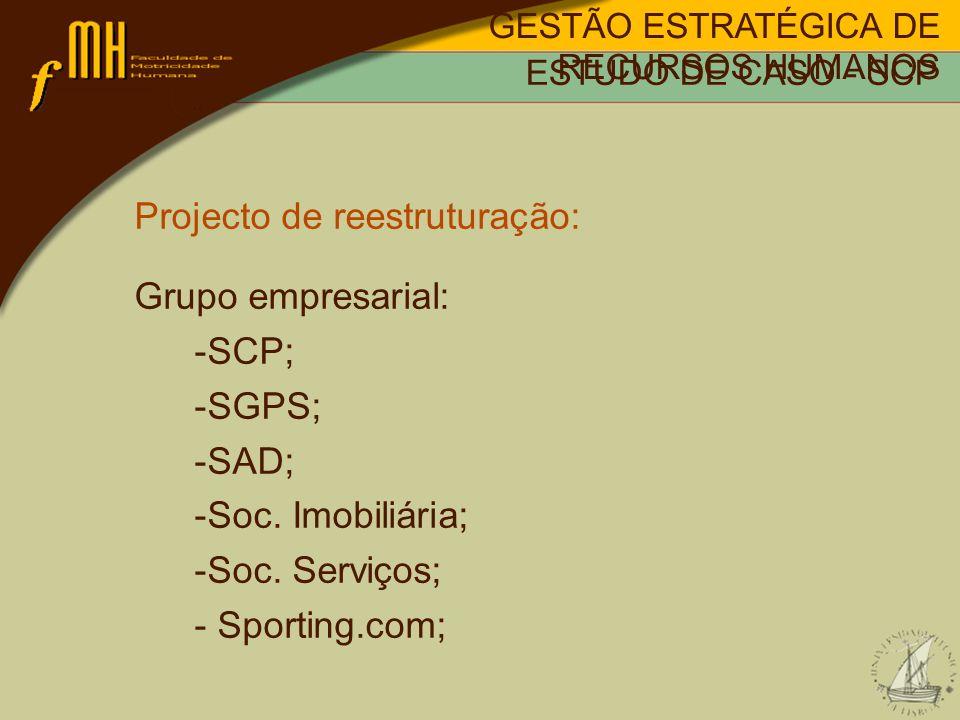 Projecto de reestruturação: Grupo empresarial: SCP; SGPS; SAD;