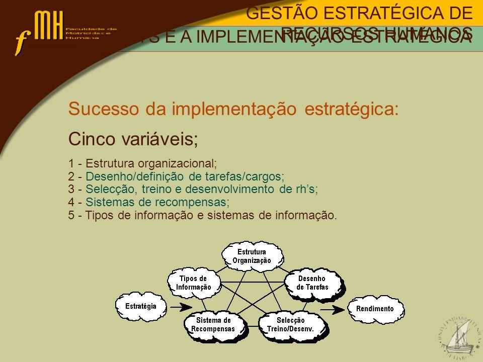 Sucesso da implementação estratégica: Cinco variáveis;