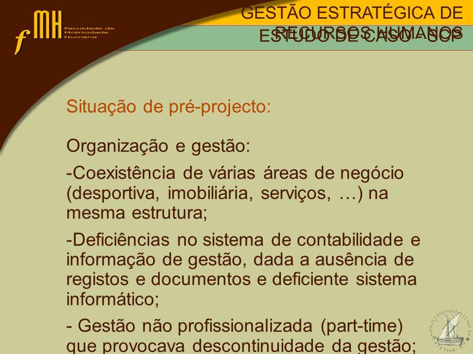 Situação de pré-projecto: Organização e gestão: