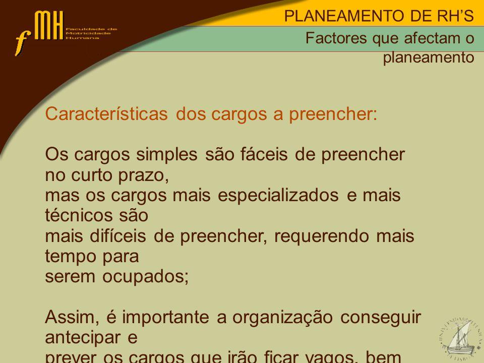 Características dos cargos a preencher: