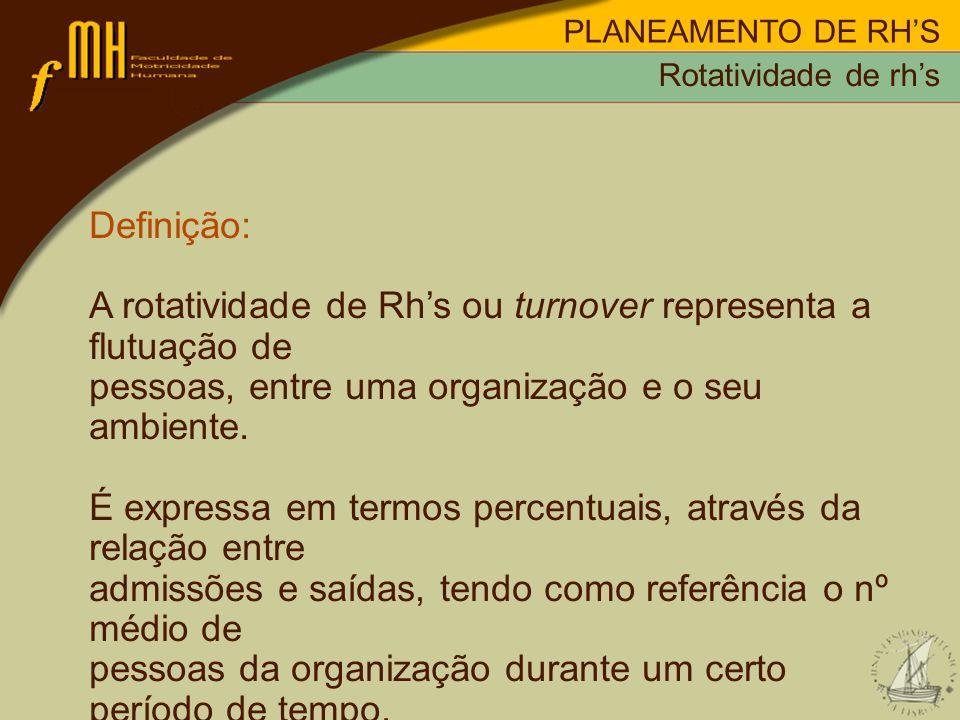 A rotatividade de Rh's ou turnover representa a flutuação de