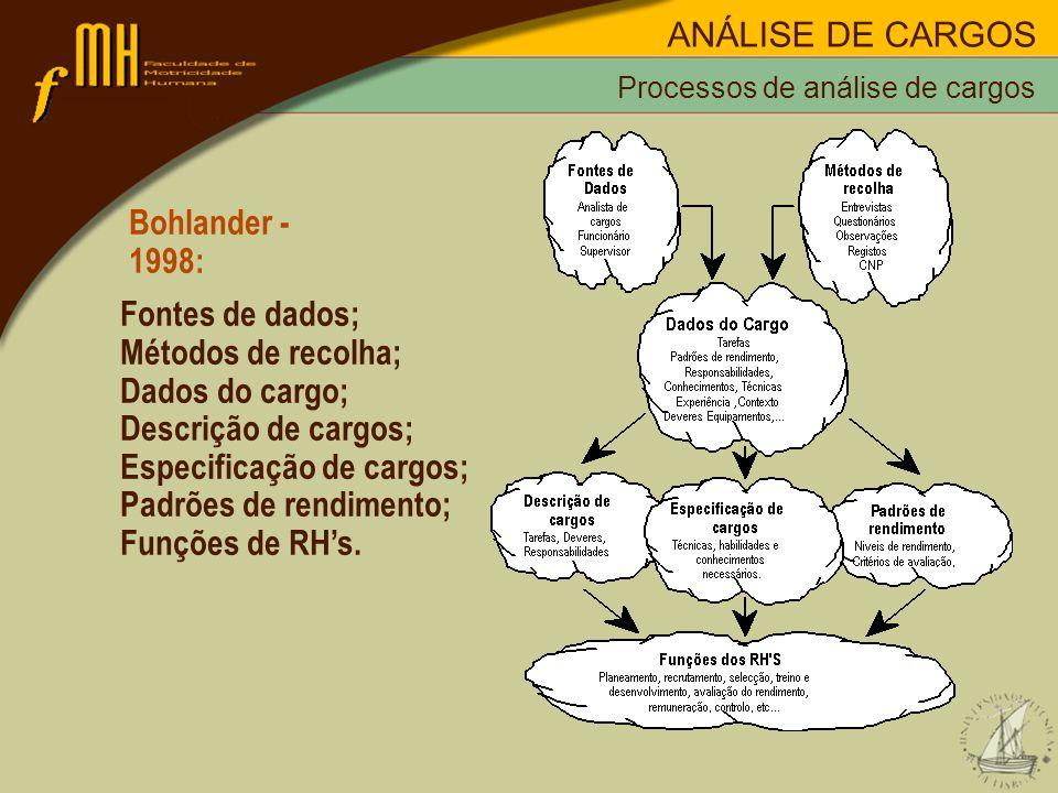 Especificação de cargos; Padrões de rendimento; Funções de RH's.