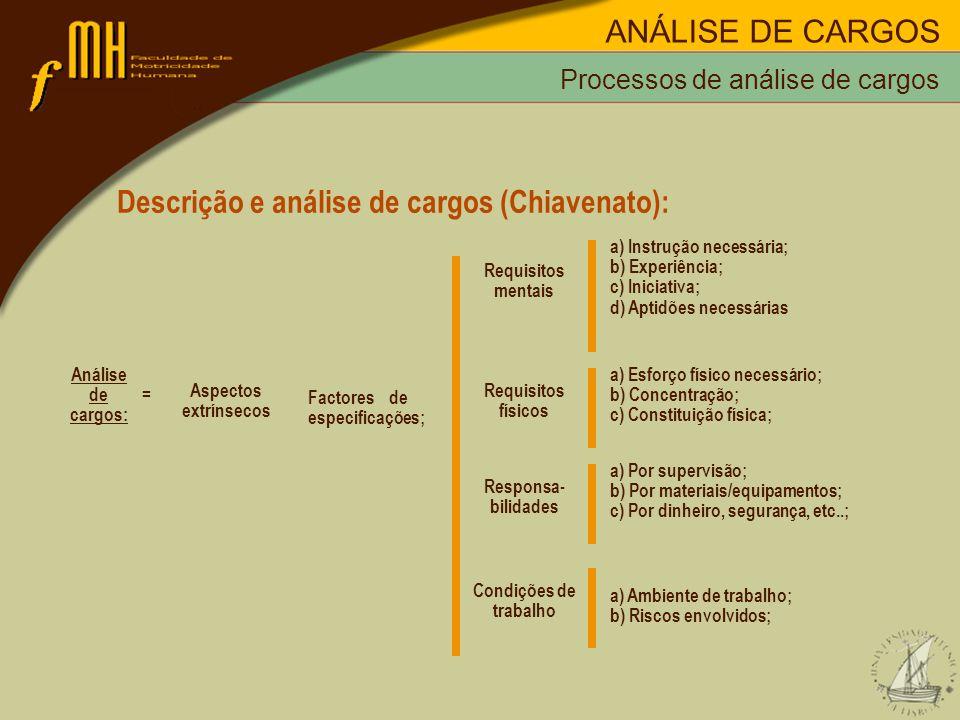 Descrição e análise de cargos (Chiavenato):