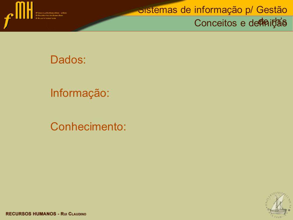 Dados: Informação: Conhecimento:
