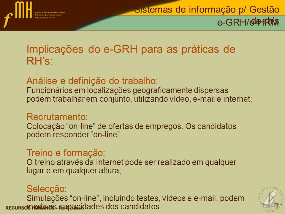 Implicações do e-GRH para as práticas de RH's:
