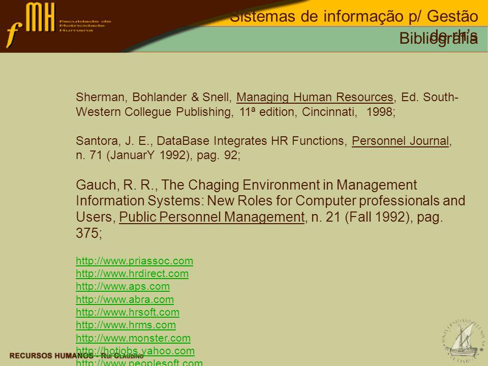 Sistemas de informação p/ Gestão de rh's Bibliografia