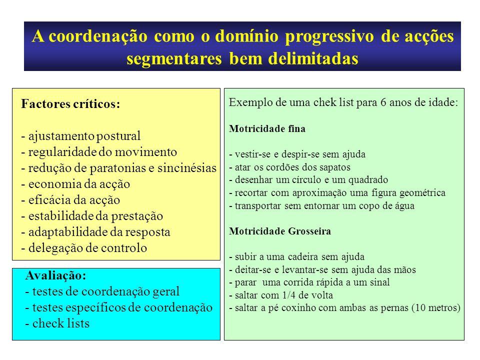 A coordenação como o domínio progressivo de acções segmentares bem delimitadas