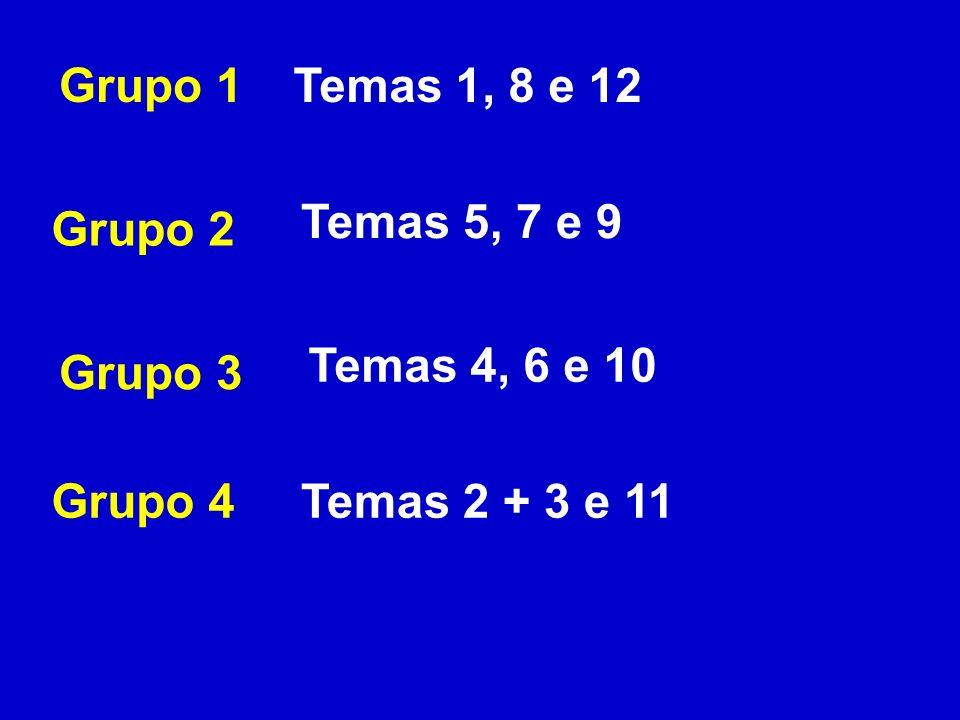 Grupo 1 Temas 1, 8 e 12 Temas 5, 7 e 9 Grupo 2 Temas 4, 6 e 10 Grupo 3 Grupo 4 Temas 2 + 3 e 11