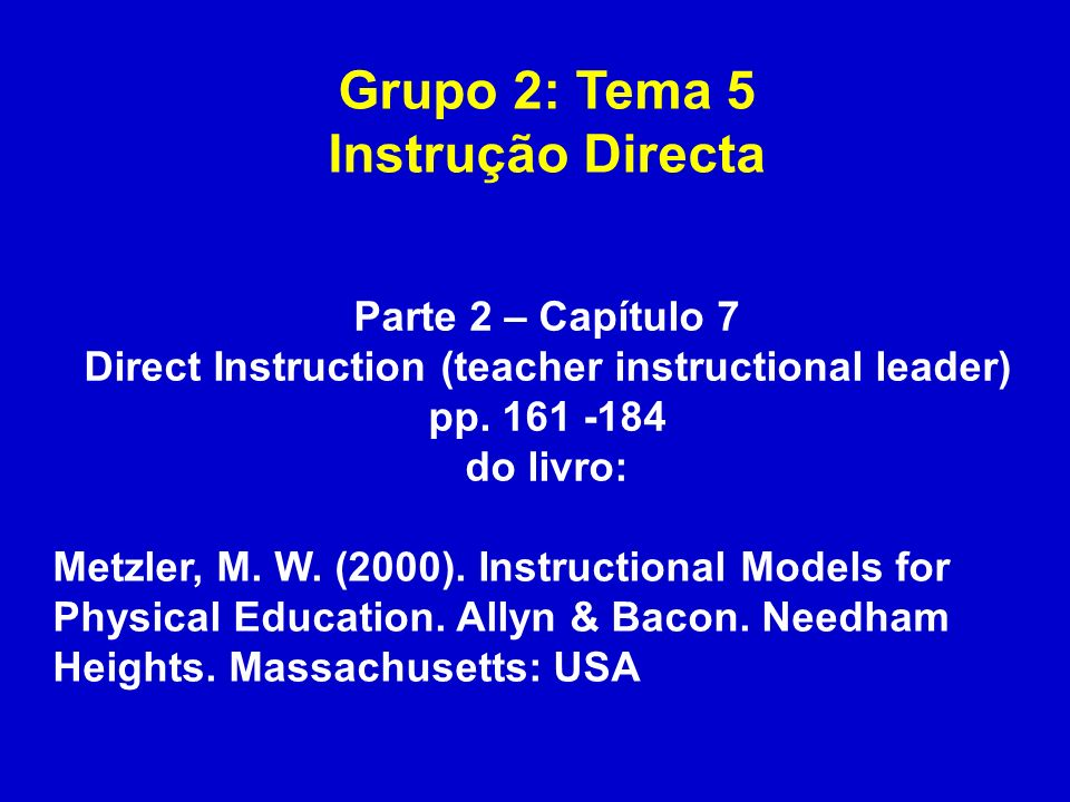 Direct Instruction (teacher instructional leader)