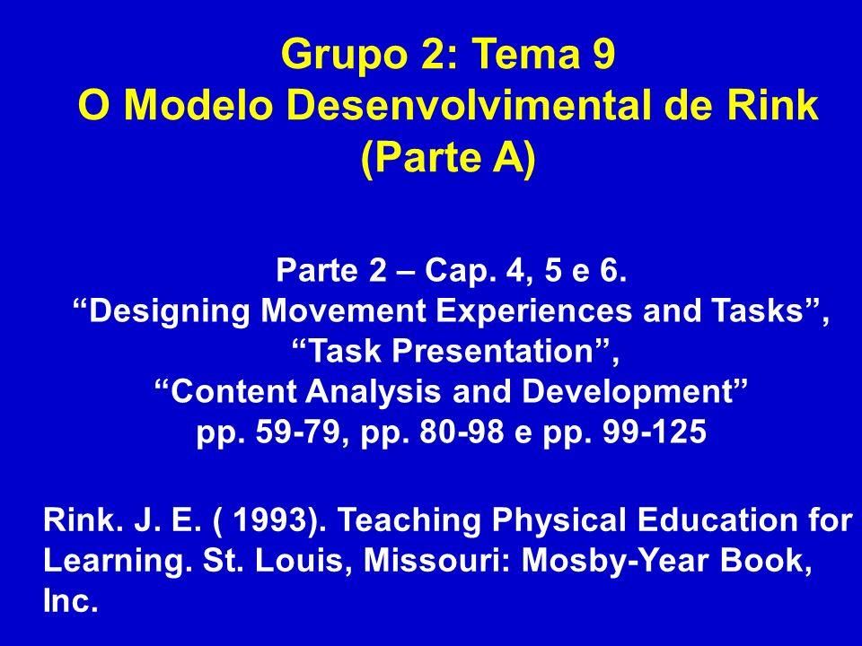Grupo 2: Tema 9 O Modelo Desenvolvimental de Rink (Parte A)