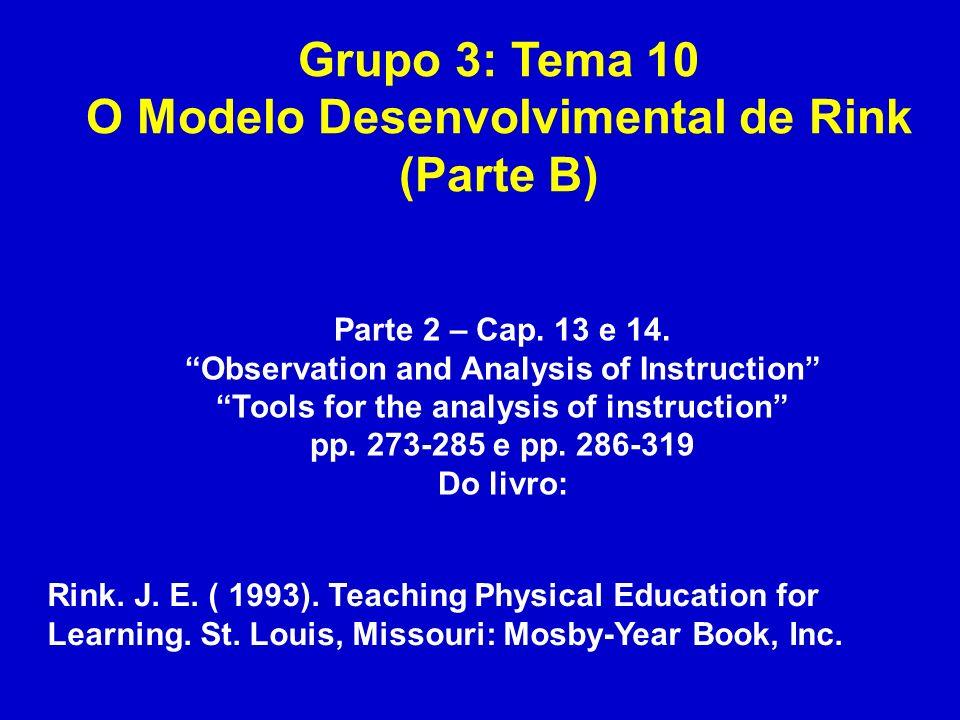 Grupo 3: Tema 10 O Modelo Desenvolvimental de Rink (Parte B)