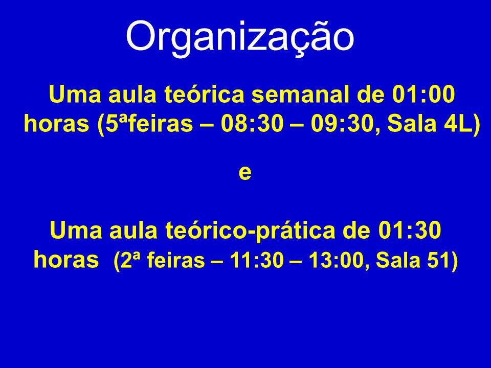 Organização Uma aula teórica semanal de 01:00 horas (5ªfeiras – 08:30 – 09:30, Sala 4L) e.