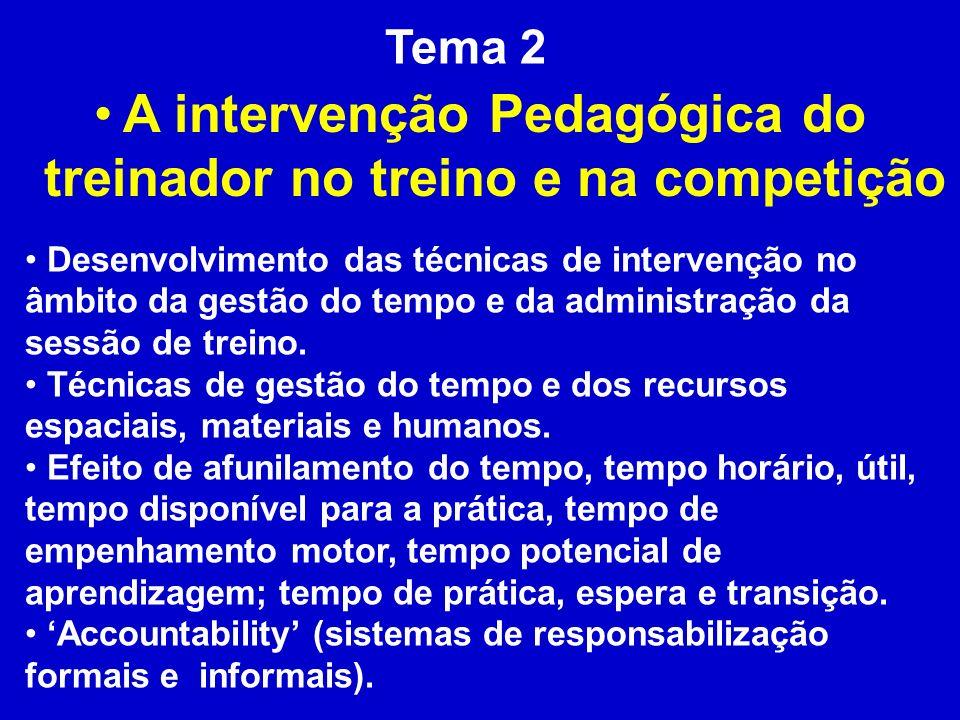 A intervenção Pedagógica do treinador no treino e na competição