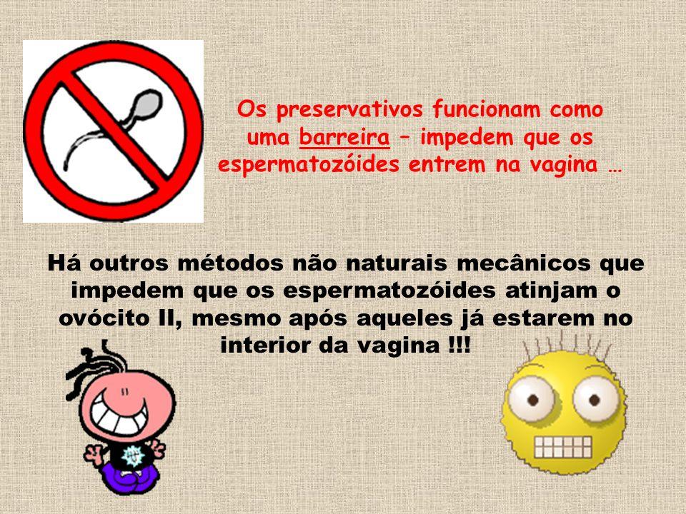 Os preservativos funcionam como uma barreira – impedem que os espermatozóides entrem na vagina …