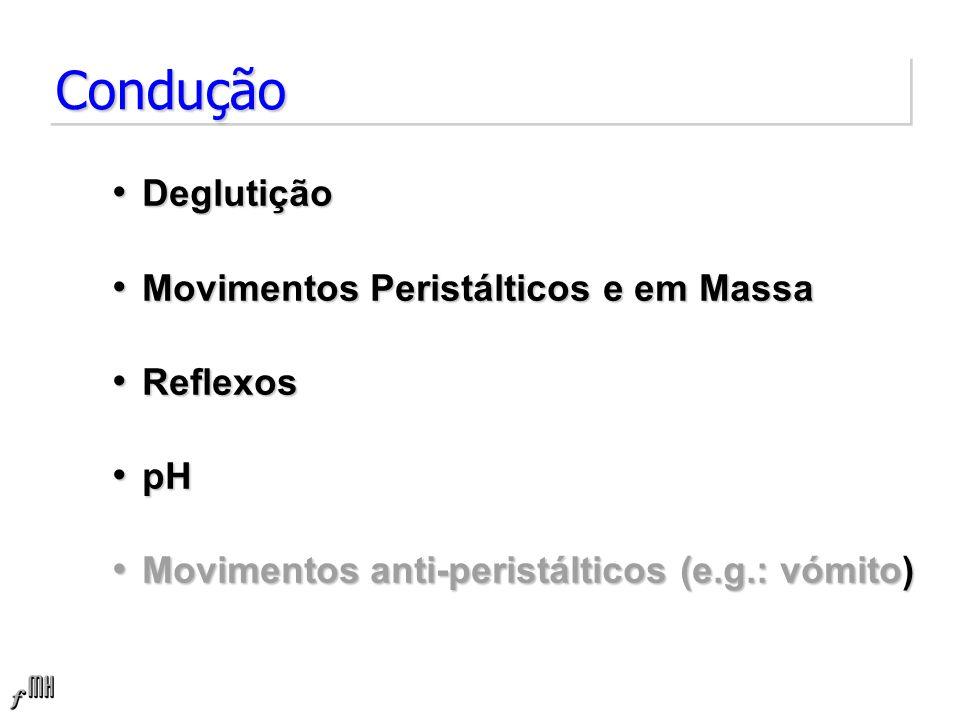 Condução Deglutição Movimentos Peristálticos e em Massa Reflexos pH