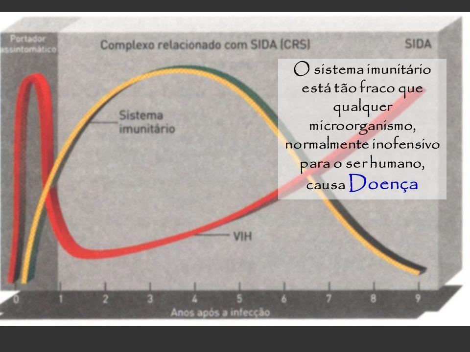 O sistema imunitário está tão fraco que qualquer microorganismo, normalmente inofensivo para o ser humano, causa Doença