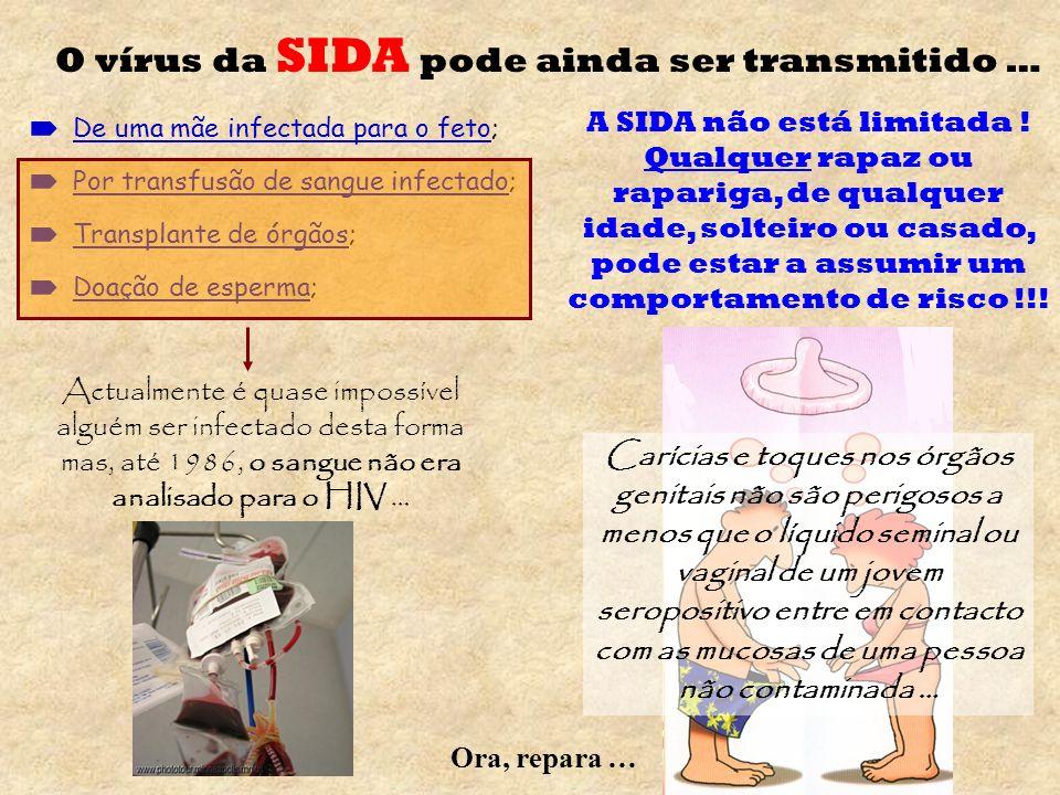 O vírus da SIDA pode ainda ser transmitido …