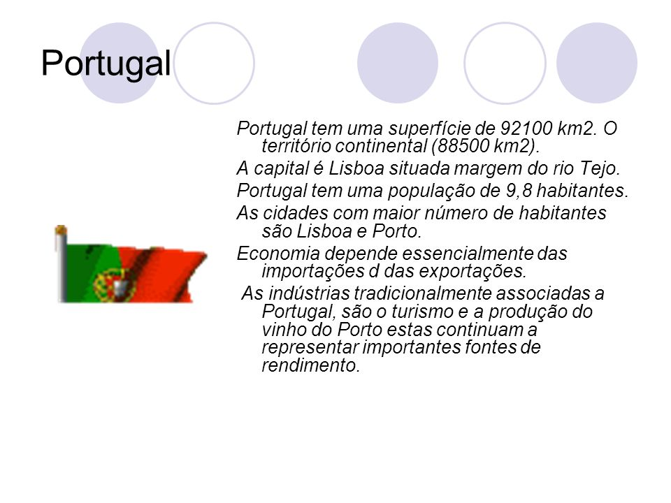 PortugalPortugal tem uma superfície de 92100 km2. O território continental (88500 km2). A capital é Lisboa situada margem do rio Tejo.