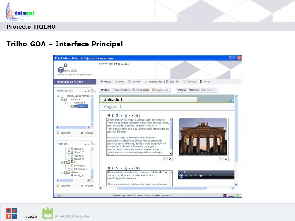 Trilho GOA – Interface Principal