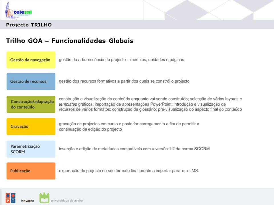 Trilho GOA – Funcionalidades Globais