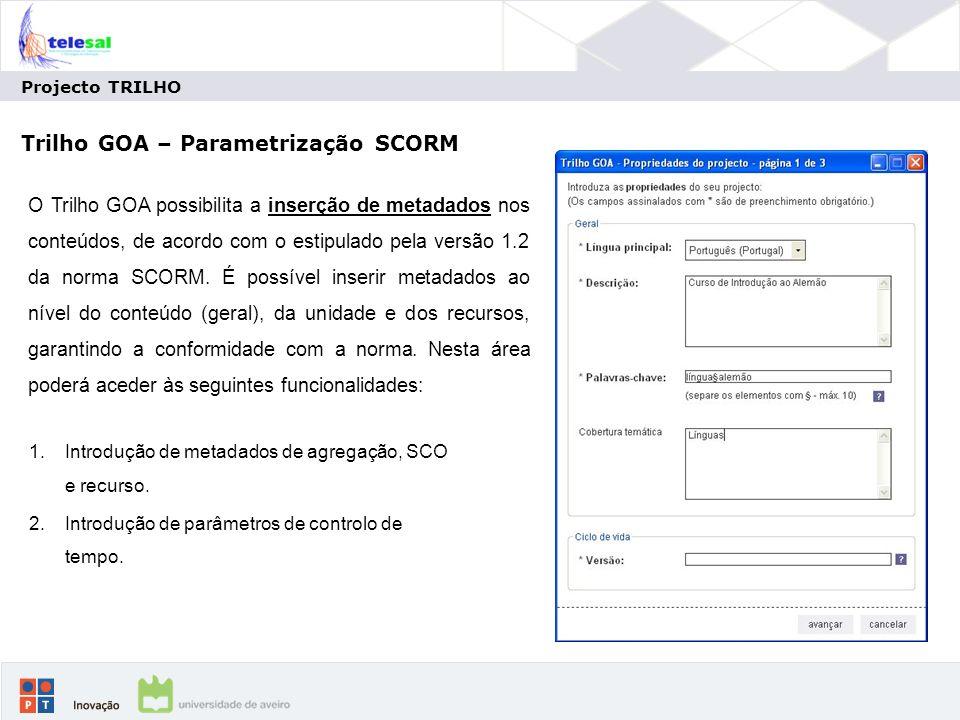 Trilho GOA – Parametrização SCORM
