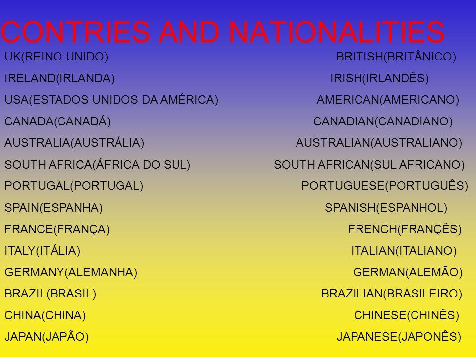 CONTRIES AND NATIONALITIES