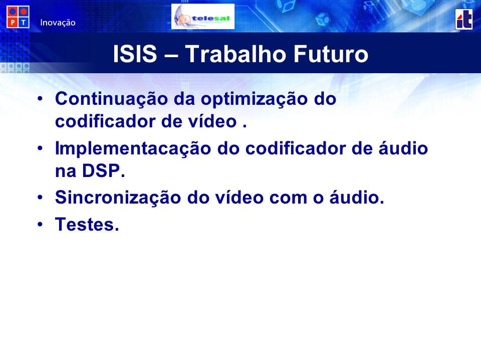 ISIS – Trabalho Futuro Continuação da optimização do codificador de vídeo . Implementacação do codificador de áudio na DSP.