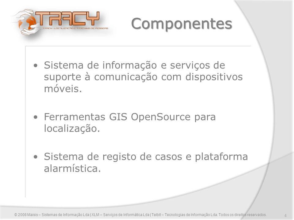Componentes Sistema de informação e serviços de suporte à comunicação com dispositivos móveis. Ferramentas GIS OpenSource para localização.
