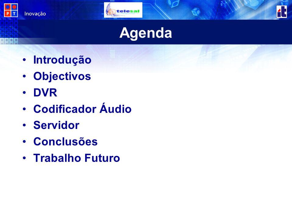 Agenda Introdução Objectivos DVR Codificador Áudio Servidor Conclusões