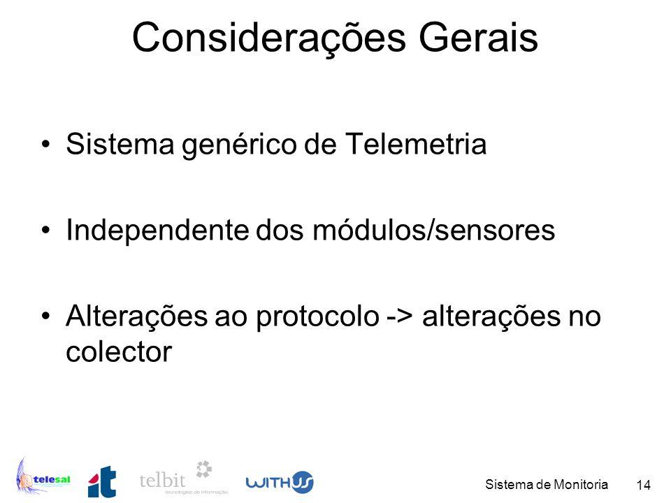 Considerações Gerais Sistema genérico de Telemetria