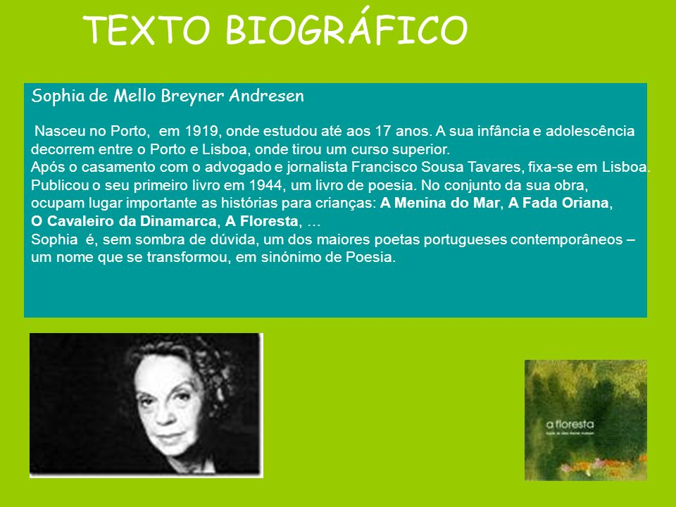 TEXTO BIOGRÁFICO Sophia de Mello Breyner Andresen