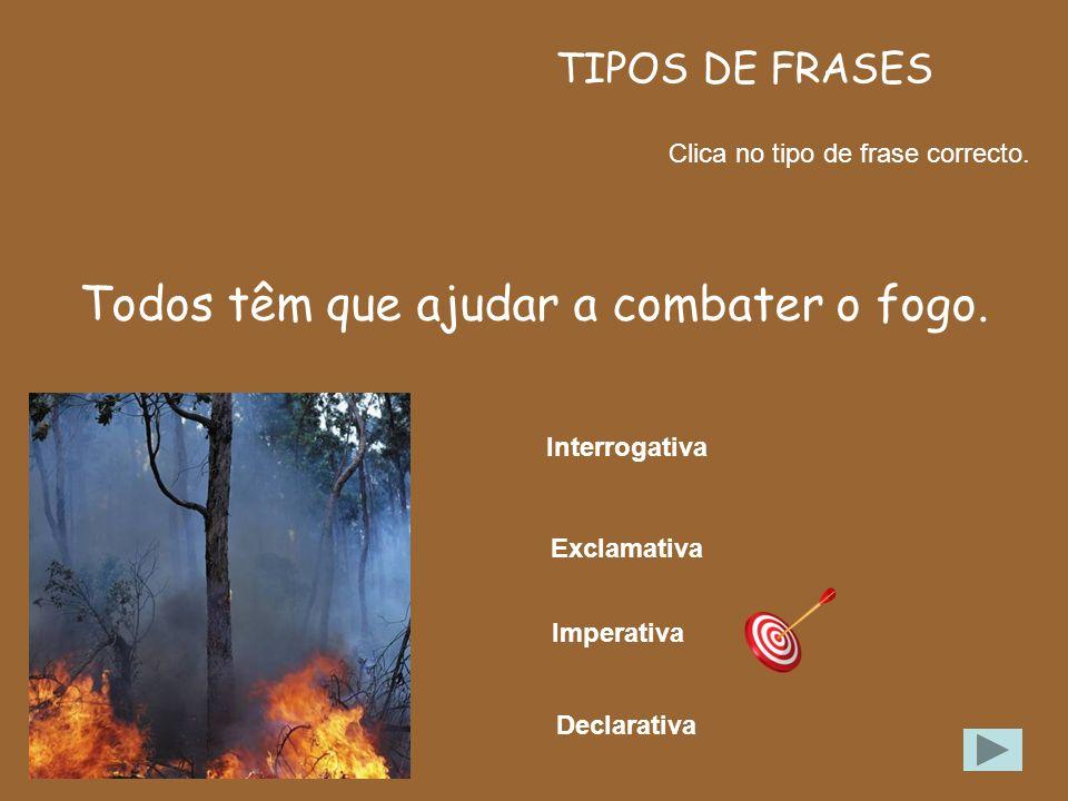 Todos têm que ajudar a combater o fogo.