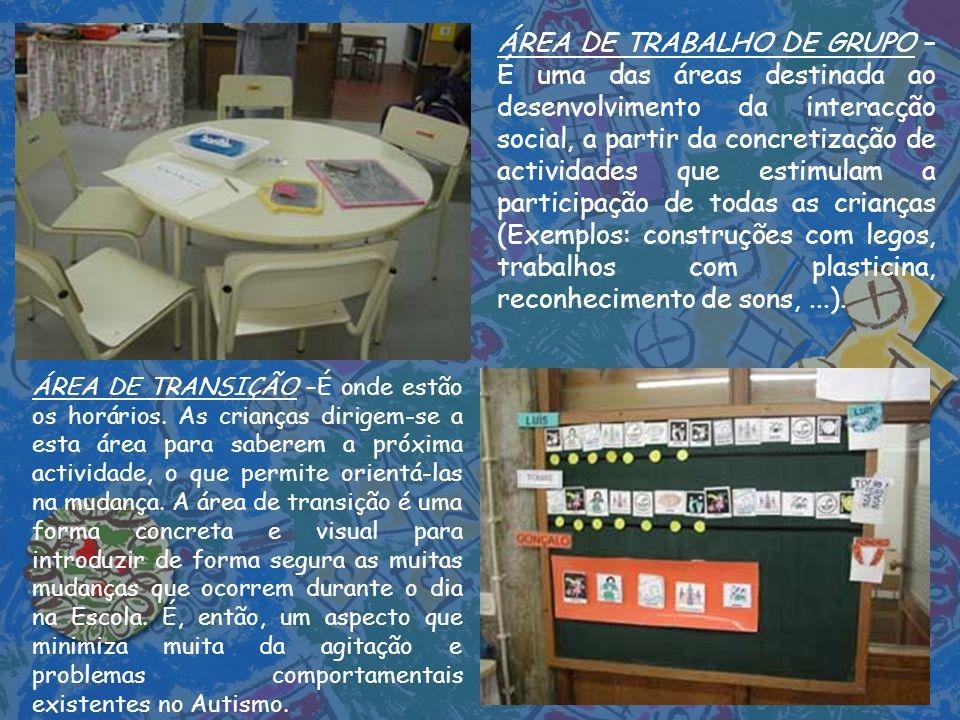 ÁREA DE TRABALHO DE GRUPO – É uma das áreas destinada ao desenvolvimento da interacção social, a partir da concretização de actividades que estimulam a participação de todas as crianças (Exemplos: construções com legos, trabalhos com plasticina, reconhecimento de sons, ...).