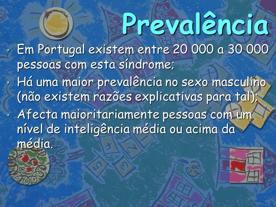 Prevalência Em Portugal existem entre 20 000 a 30 000 pessoas com esta síndrome;