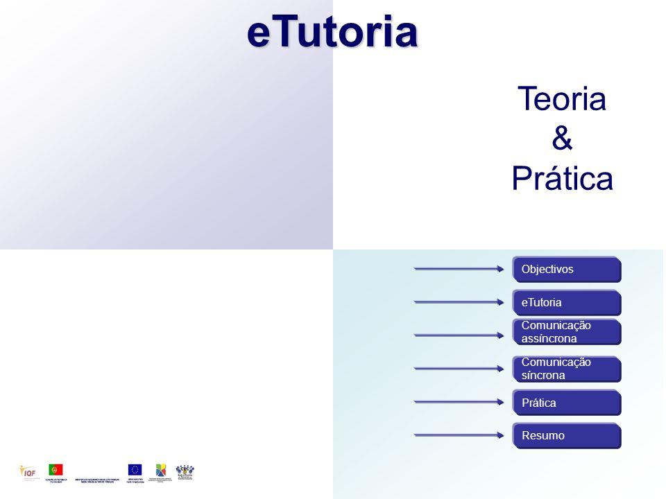eTutoria Teoria & Prática Objectivos eTutoria Comunicação assíncrona