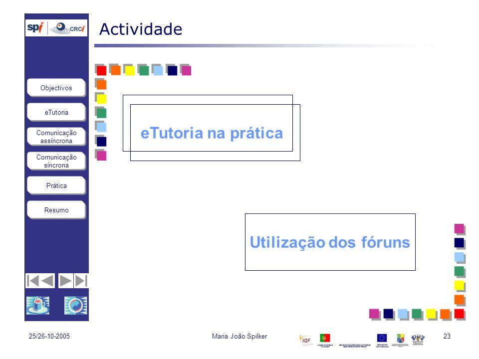 Actividade eTutoria na prática Utilização dos fóruns 25/26-10-2005