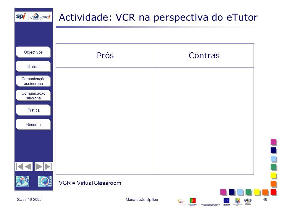 Actividade: VCR na perspectiva do eTutor