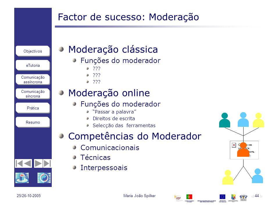 Factor de sucesso: Moderação
