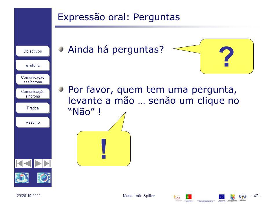Expressão oral: Perguntas