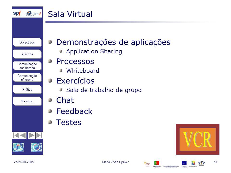 VCR Sala Virtual Demonstrações de aplicações Processos Exercícios Chat