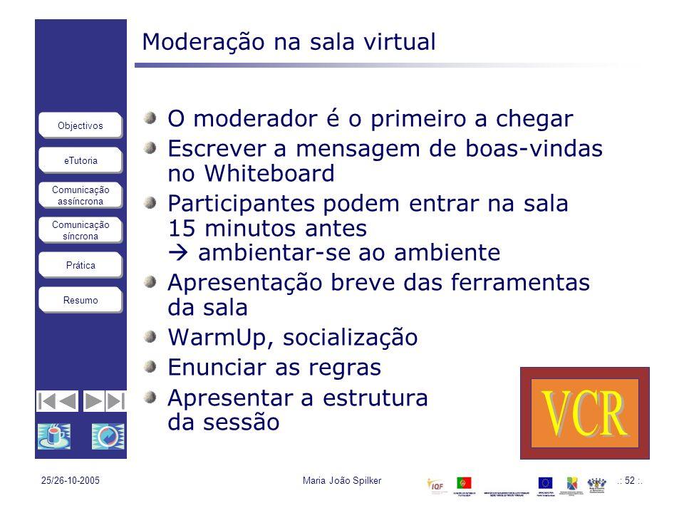 Moderação na sala virtual