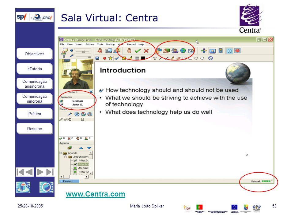 Sala Virtual: Centra www.Centra.com 25/26-10-2005 Maria João Spilker